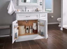 Door organizers are avaialble as an installed modificaiton for Veranda, Portico and Terrace vanity base cabinets; see p. 700.29 of the Bath Silhouettes Spec Book.