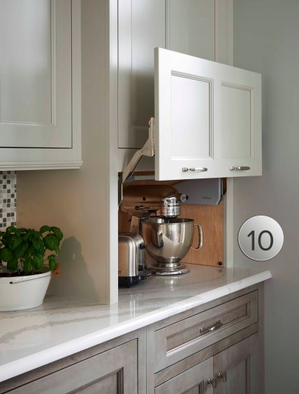 Conceal small appliances with an easy lift door for the perfect balance of form and function.